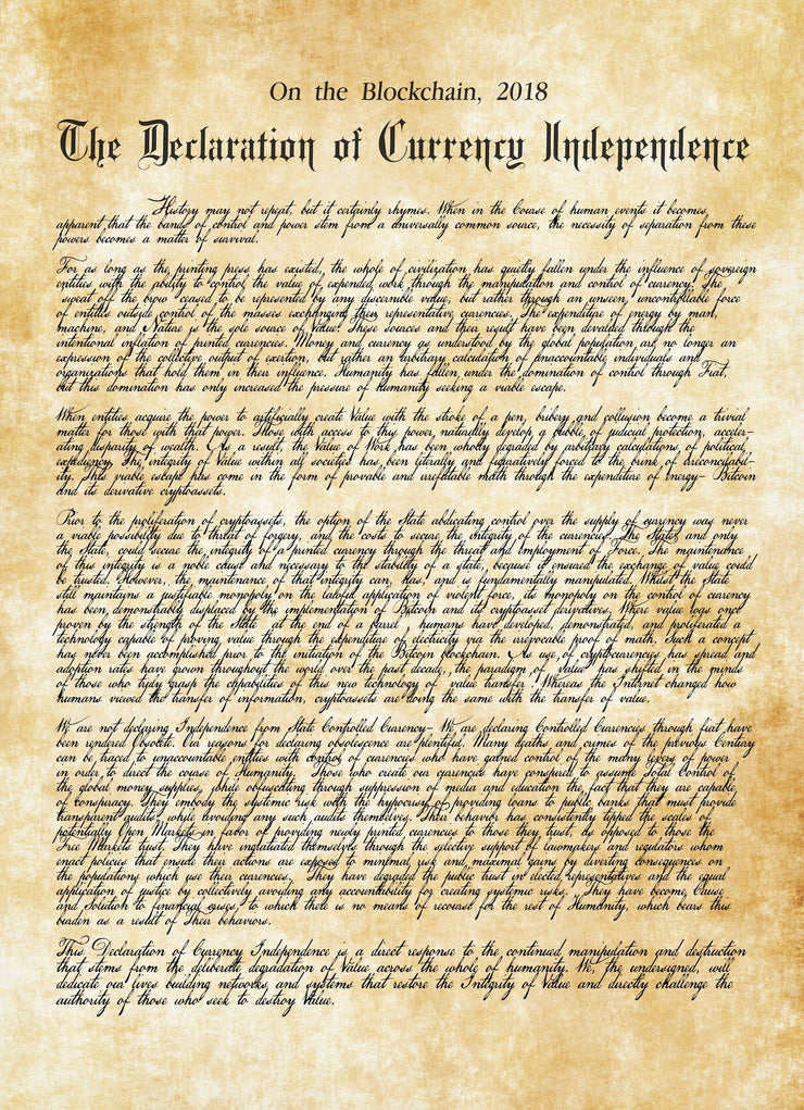 Declaration of Currency Independence Giclee Print