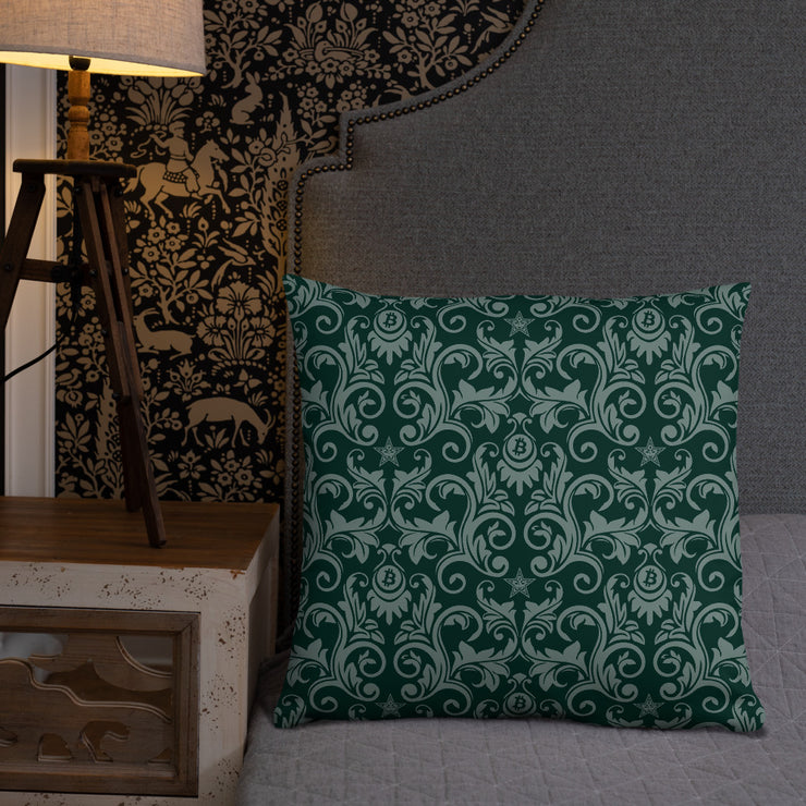 Victorian Forest Green Bitcoin Pillow (Limited)