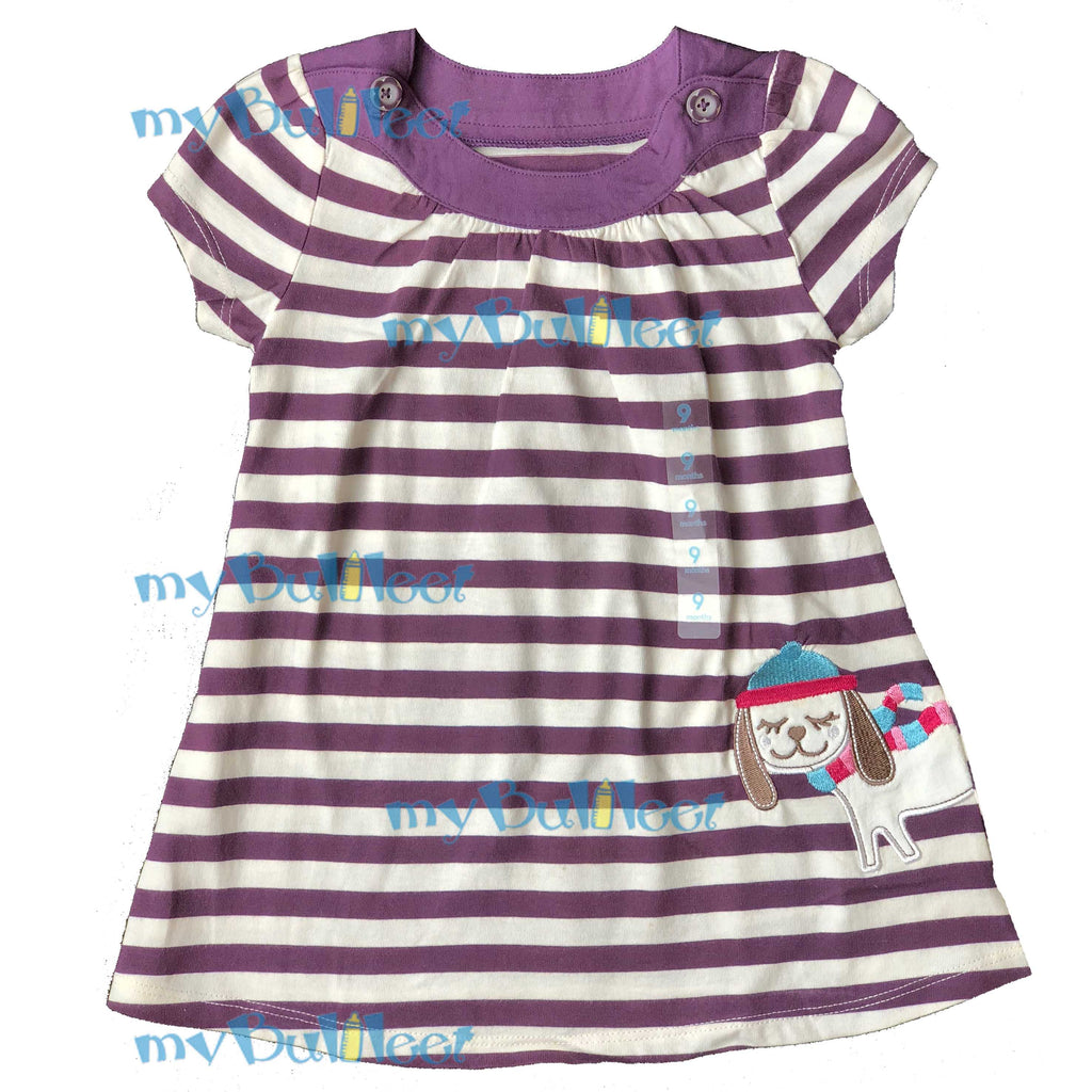 63ce58fa7 Purple Stripes Carter's Dress with Puppy Embroidery – myBulileet