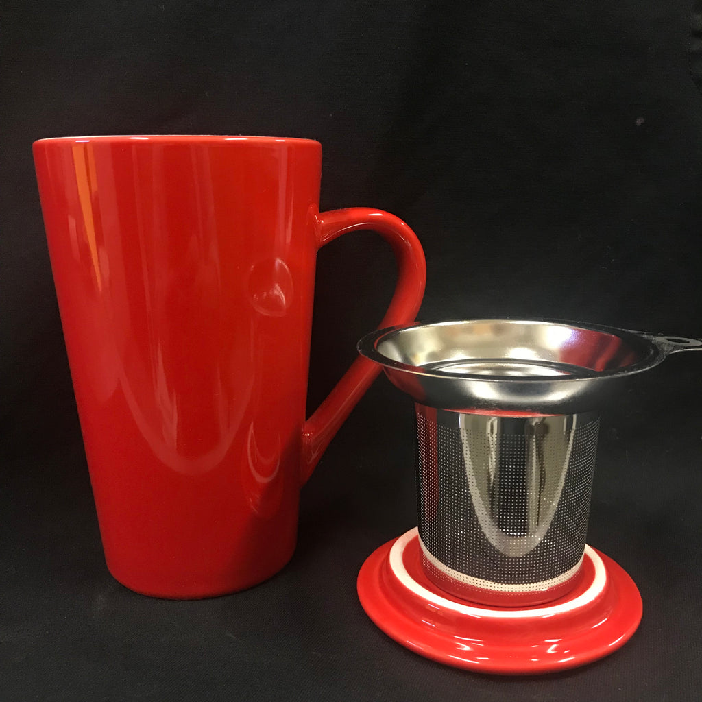 Tea Infuser Mug Tall - red
