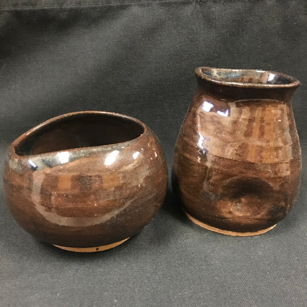 Pottery Cream and Sugar Set - Brown