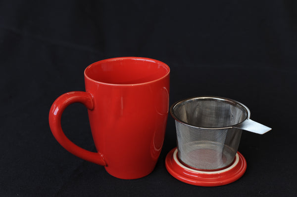 Tea Infuser Mug - red
