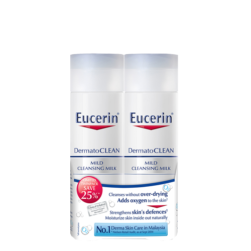 [Twin Pack] Eucerin DermatoCLEAN Mild Cleansing Milk 200ml