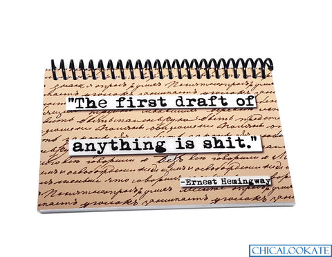 Ernest Hemingway Rough Draft Quote Blank 4x6 Notepad