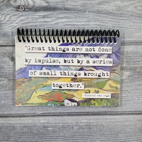 Van Gogh Great Things Quote Blank 4x6 Notepad