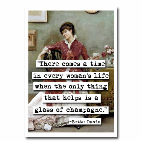 Bette Davis Champagne Quote Blank Greeting Card