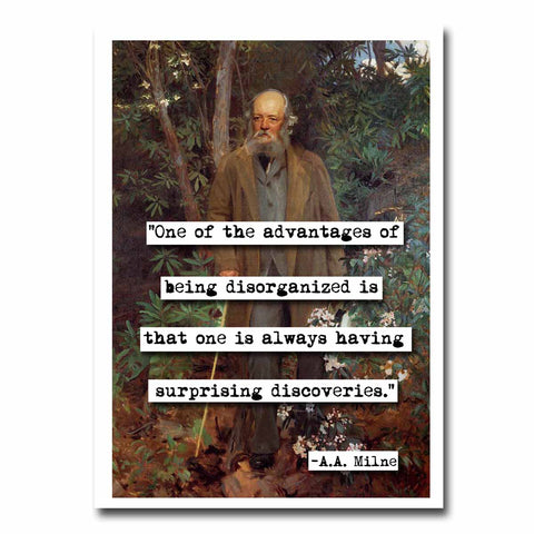 A.A. Milne Disorganized Quote Blank Greeting Card