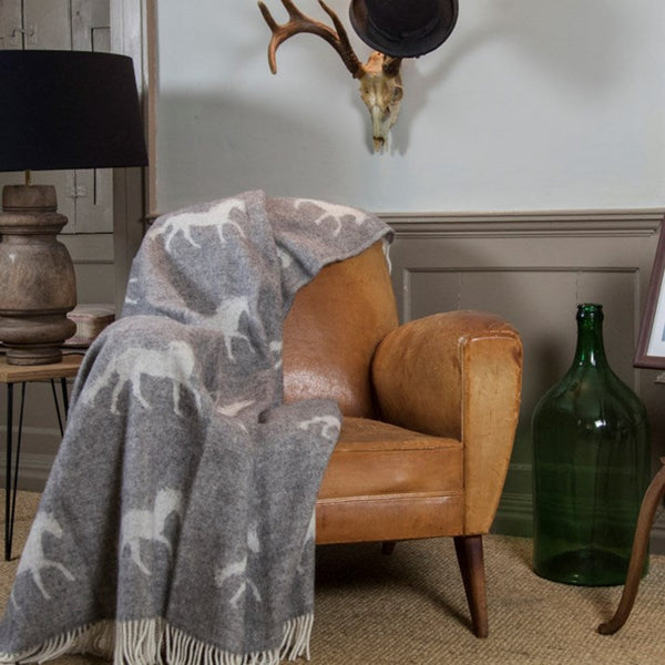 Pure New Wool Grey Horses Throw