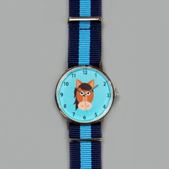 Aqua blue childrens watch with blue woven strap and pony head on the watch face