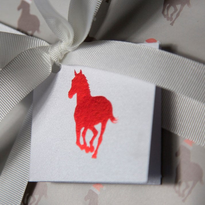 Red Metallic Horse Gift Tag