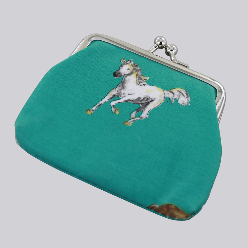 Teal Coin purse with galloping horse image