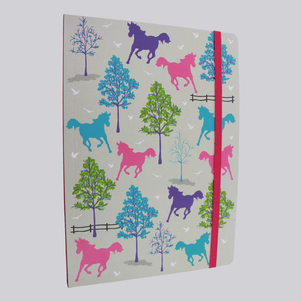 Playful Ponies in between trees A5 Notebook with pink elastic