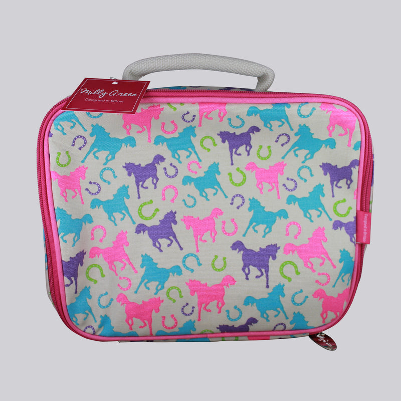 Milly Green Playful Ponies Lunch Box with zip closing