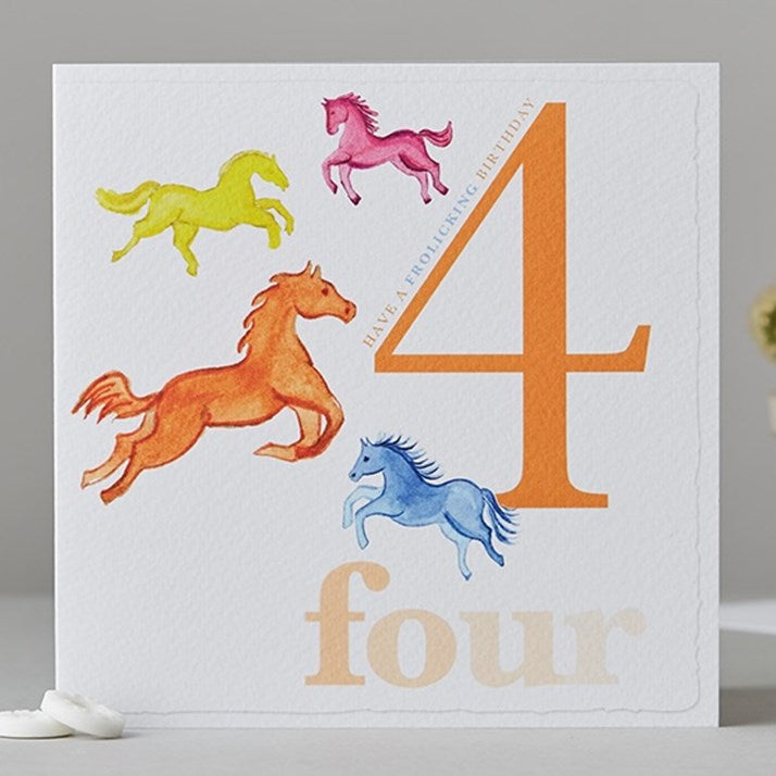Four Horses Birthday Card 'have a frolicking birthday'