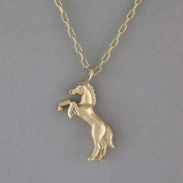 Solid 9ct Gold Large Horse Necklace
