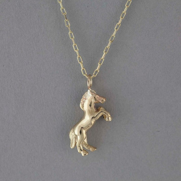 Solid 9ct Gold Horse Necklace