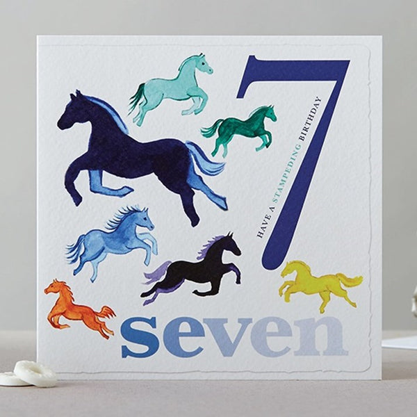 Seven Horses Birthday Card