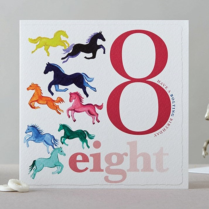 Eight Horses Birthday Card