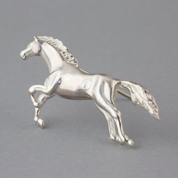 Sterling Silver Galloping Horse Brooch