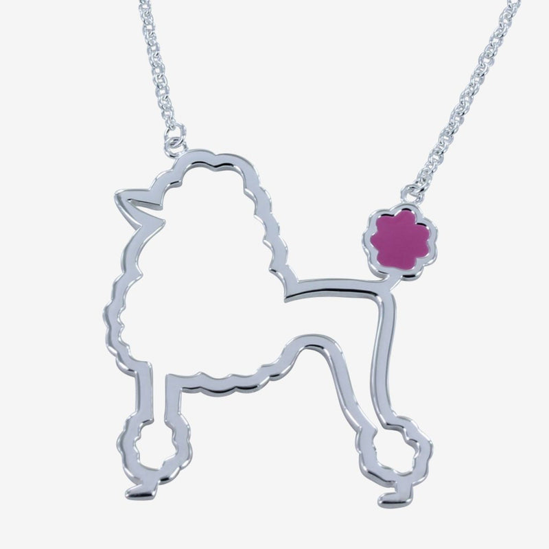 Sterling silver outline of a poodle necklace with pink enamel tail