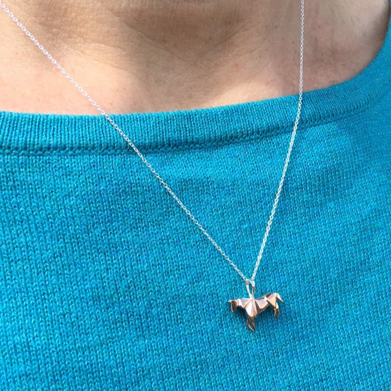 Sterling Silver & Rose Gold Plate Origami Horse Necklace
