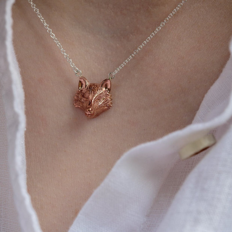 Sterling Silver & Rose Gold Plate Fox Necklace