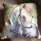 Grey Horse Velvet Cushion