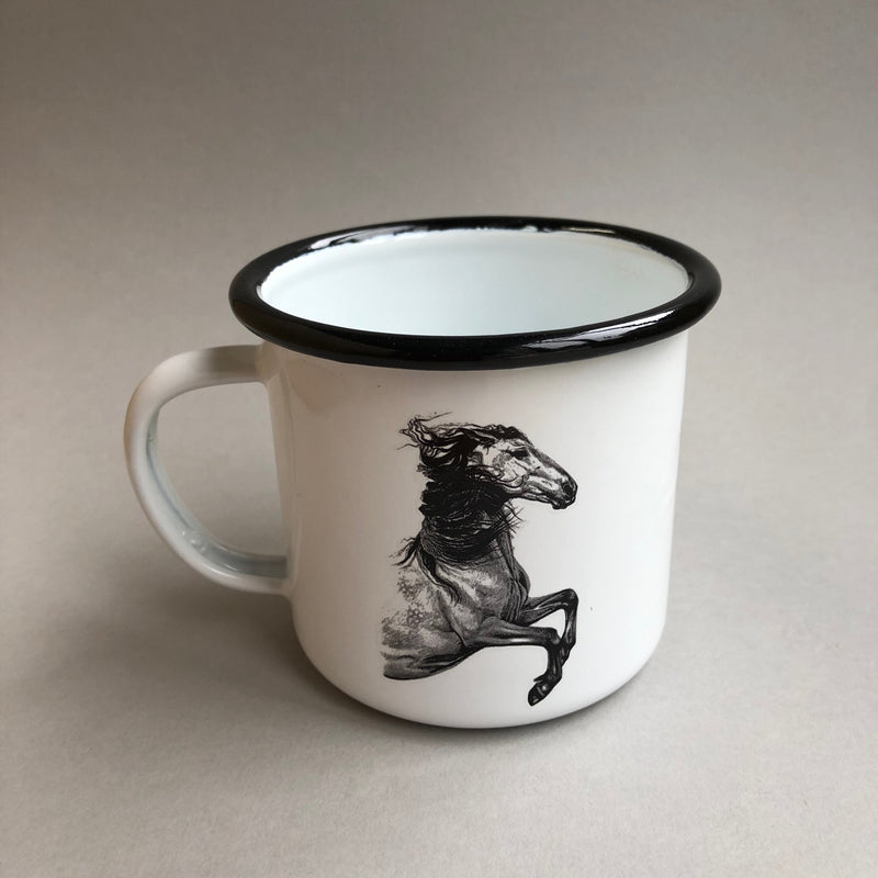 White and Black Enamel Mug with horse print