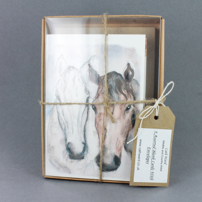 8 Greeting cards in a gift box, tied with string