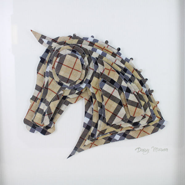 Tartan 3D Horse Head picture on white background and in white frame