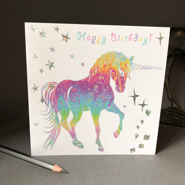 'Happy Birthday' Unicorn Greeting Card