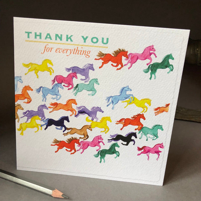 'Thank You for everythinig' greeting card wtih coloured horses galloping across the front