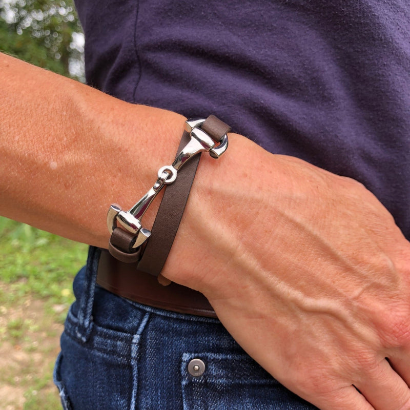 Dimacci Favorit Mocha Leather & Steel Snaffle Wrap Bracelet