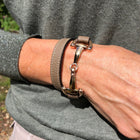 Dimacci Taupe Leather & Rose Gold Plate Snaffle Bracelet