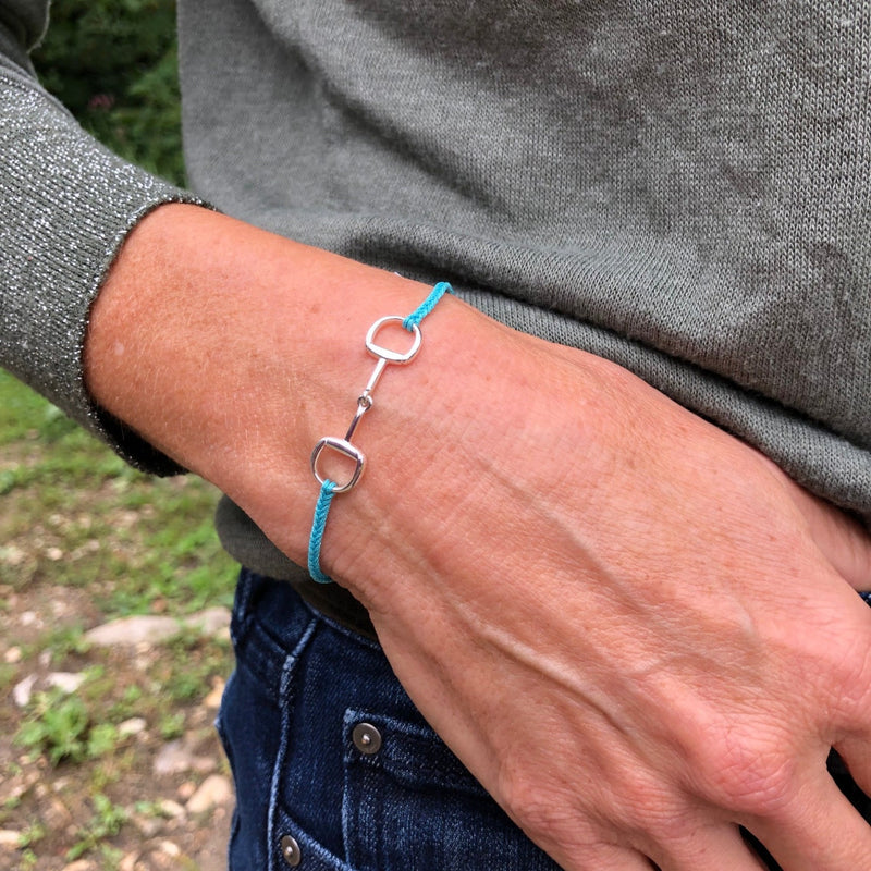 Turquoise Silver Snaffle Friendship Bracelet
