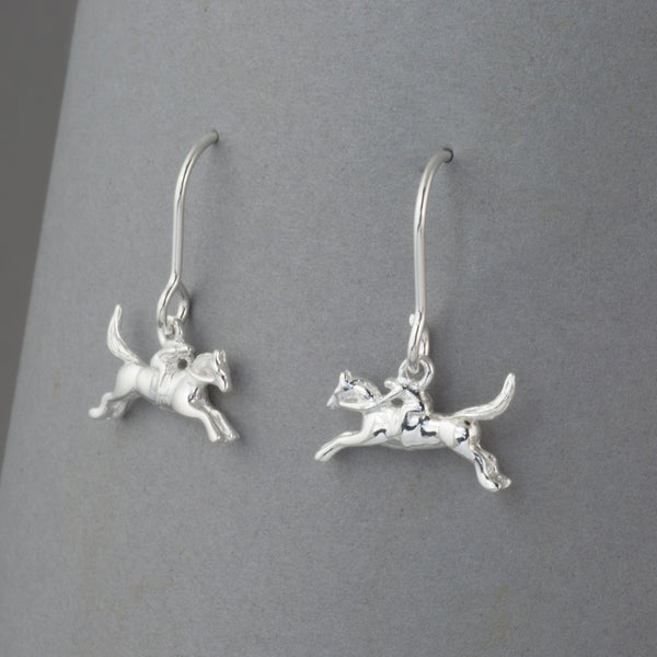 Sterling Silver Racehorse Earrings