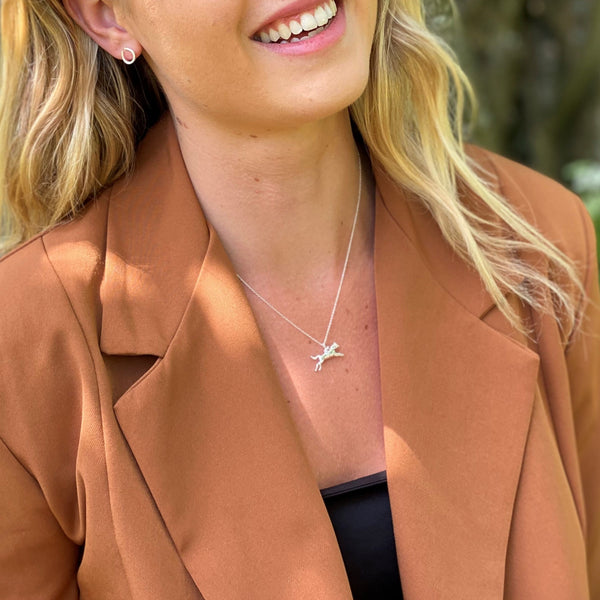 Sterling Silver Racehorse Necklace
