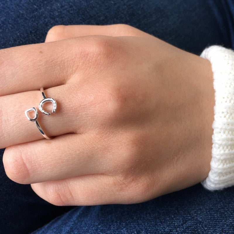 Sterling Silver Stirrup & Horseshoe Ring