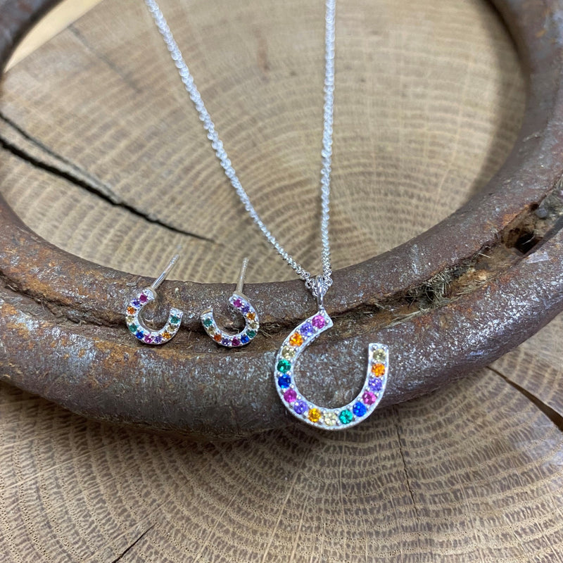 Rainbow Crystals & Sterling Silver Horseshoe Necklace