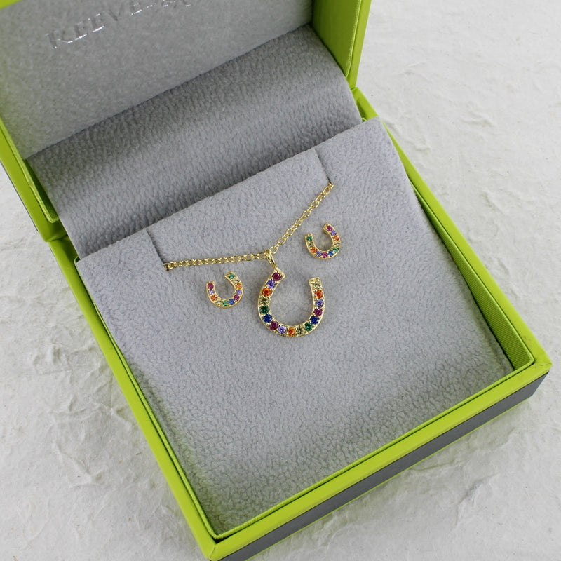 Gold Rainbow Crystals & Sterling Silver Horseshoe Necklace