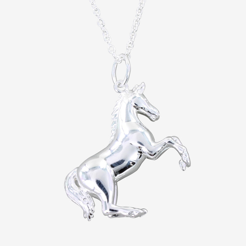 Sterling Silver Rearing Horse Necklace