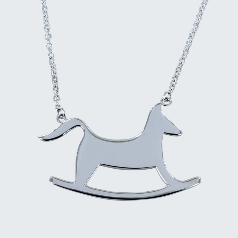 Sterling silver rocking horse necklace on a silver chain