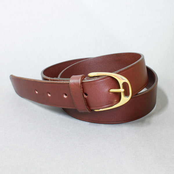 Havana English Brown Leather and Brass Stirrup Buckle Belt
