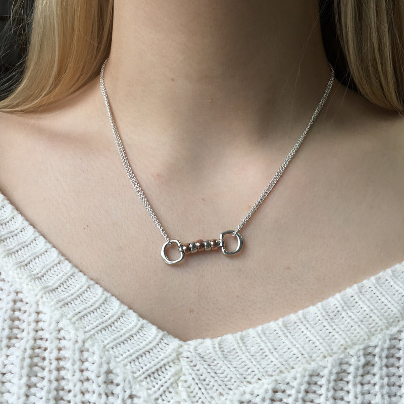 Equestrian Cherry Roller Silver & Rose Gold Necklace