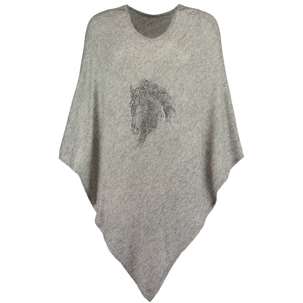 Cashmere Poncho with Crystal Embellished Horse Head