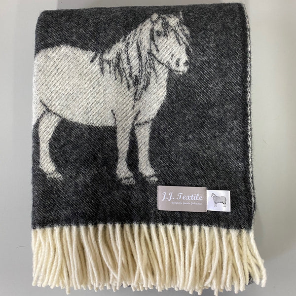 Pure New Wool Grey Pony Throw