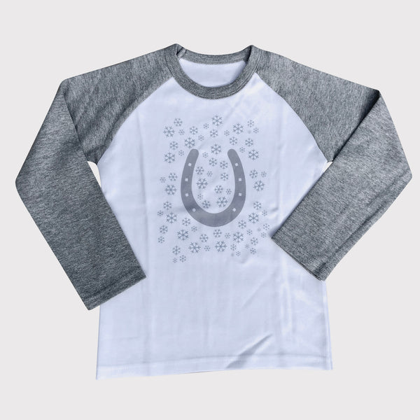 Long Sleeved Horseshoe and Snowflake Children's T Shirt. Grey sleeves with white body