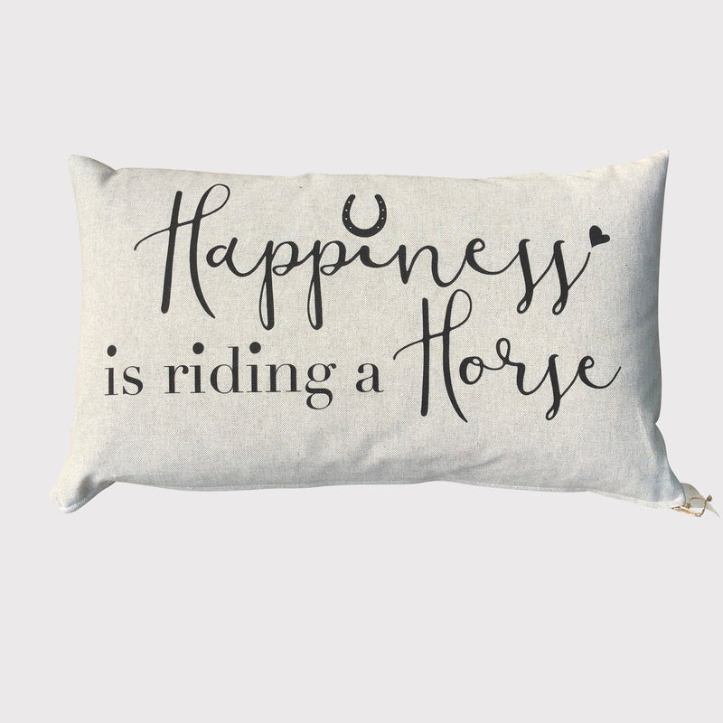 Linen Cushion with 'Happiness is riding a Horse' slogan