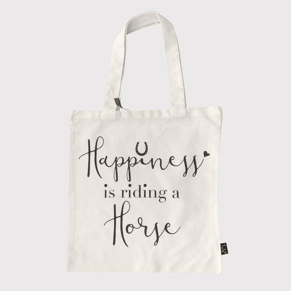 Canvas shopping bag with slogan 'Happiness is riding a horse'