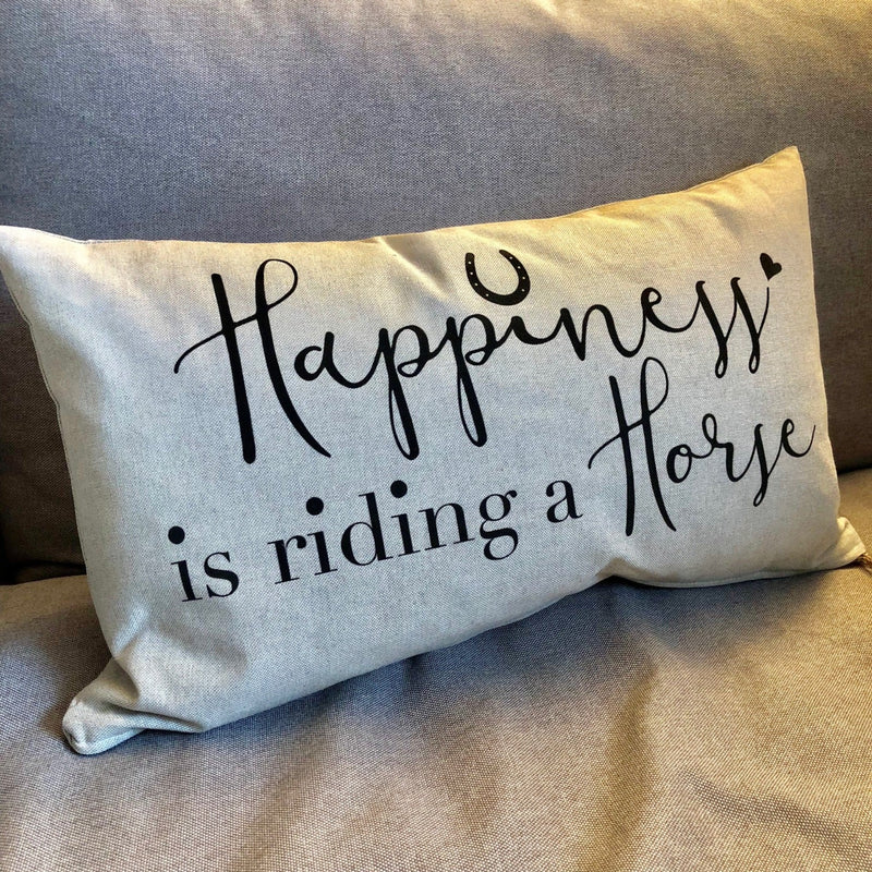 Linen Cushion with the slogan 'Happiness is riding a Horse'